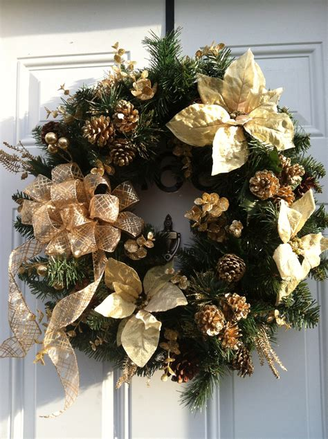 gold christmas wreath winter wonderland pinterest