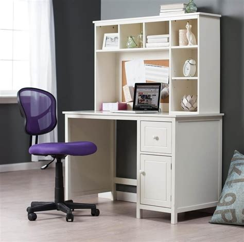 Storage Desks For Small Spaces Furniture White Student Desk For Small Spaces With Storage And Purple Roller Chair Best