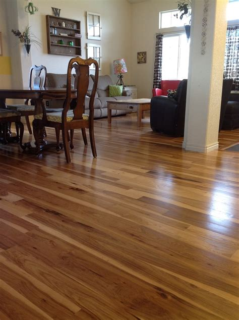 hickory wood floors Family Room Traditional with dark wood