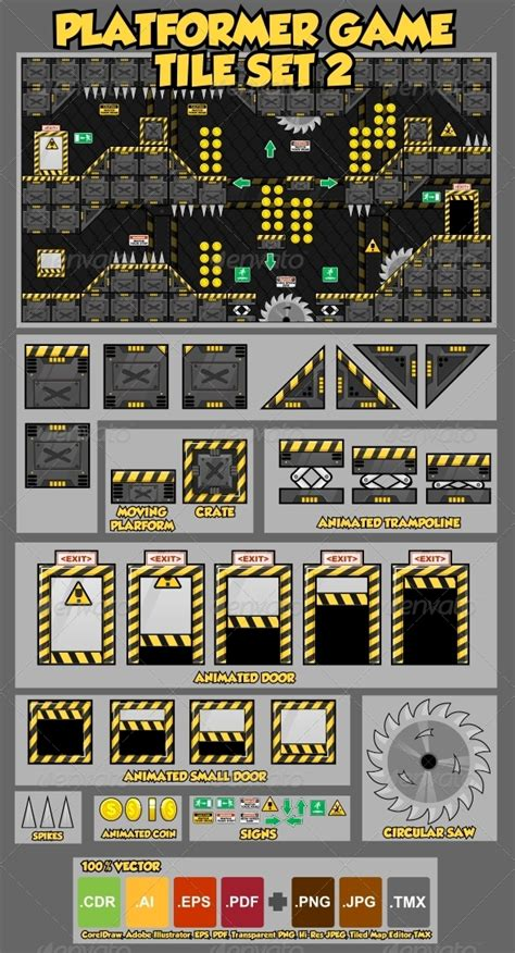 platformer game tile set 2 graphicriver