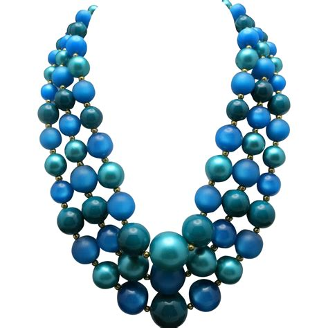 blue bead blue bead necklace three strands earrings clip on from