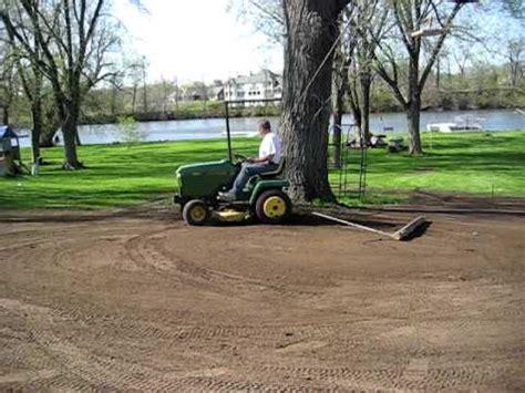 Backyard Play Equipment John Deere Garden Tractor Used For Final Yard Grading