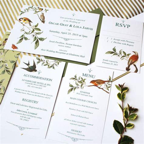 Bird Themed Wedding Invitations by Garden Bird Wedding Invitation Suite By Vanilla Retro