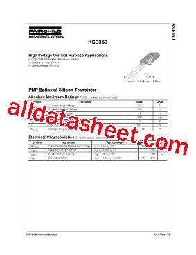 Transistor Kse350 kse350 datasheet pdf fairchild semiconductor
