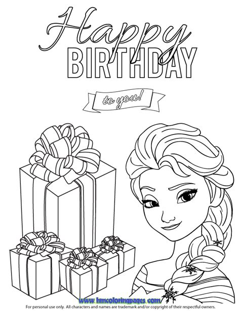 elsa birthday coloring page elsa birthday page colouring pages