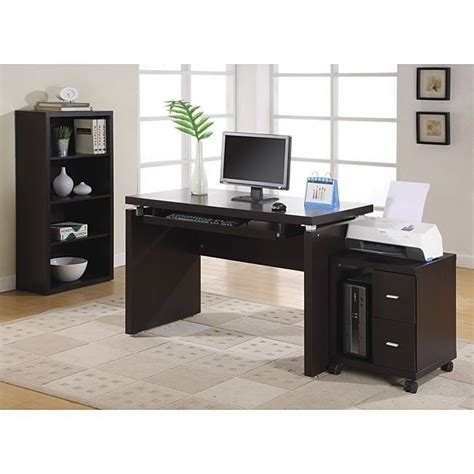 Computer Desk Cappuchino 48 Inch Drawers Storage Laptop Laptop Desk With Storage