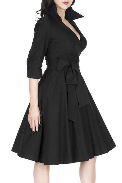 3 4 Sleeve Plain A Line Dress lapel v neck 3 4 length sleeve plain midi a line