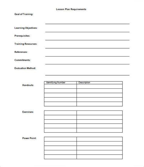 lesson plan outline templates    premium templates