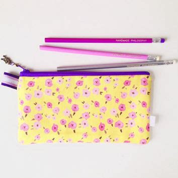 sectioned pencil case ditsy floral yellow divided pencil case from