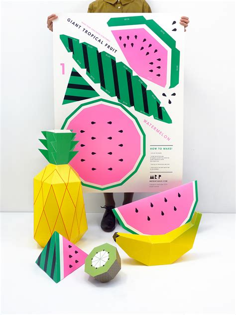 Things To Make With Coloured Paper - tropical fruit paper sculpture kit moon picnic
