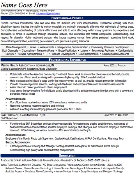 substance abuse counselor resume resume for service