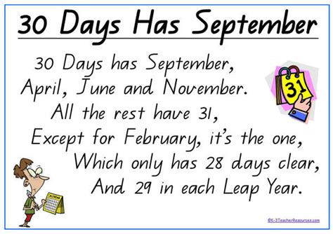 Calendar How Many Days In Each Month Activity Sing About The Days In Each Month Calendars