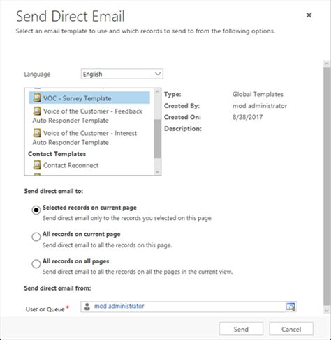 send email template distributing a survey using voice of the customer
