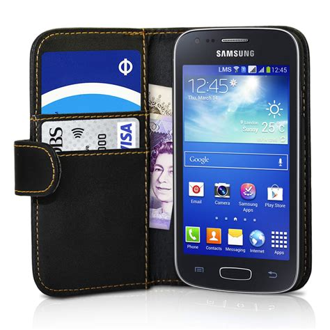 Dus Box Samsung Ace 3 black wallet leather cover for samsung galaxy ace 3 s7270 screen protecto ebay