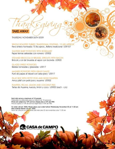 Happy Thanksgiving From Flyaway Cafe by Thanksgiving Take Away Menu Available From The Casa De