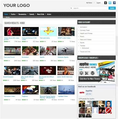 blogger themes for movie site joomla video plus video plus theme video gallery template