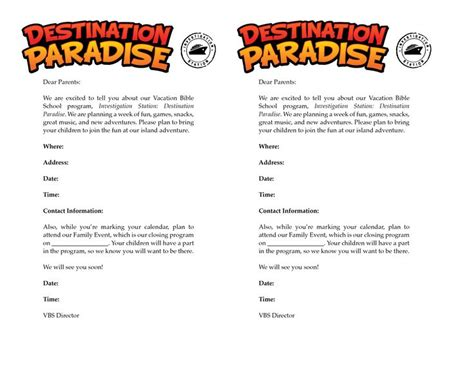 Invitation Letter Vacation Sle Invitation Letter For Parents Vbs 2015 Parents Letters For Parents And Invitations