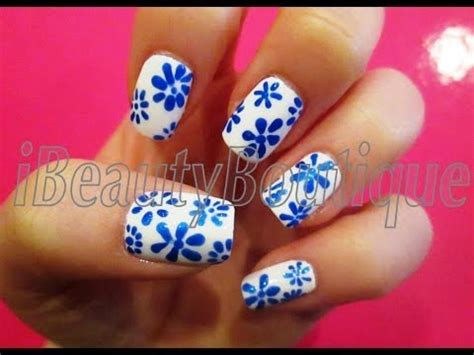 easy nail art blue and white easy blue and white flowers nail art ibeautyboutique