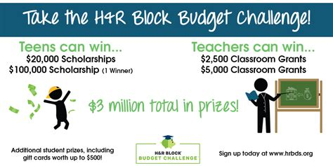 Free Personal Finance Budget Challenge Pays Students to ... H And R Block Budget Challenge Tips