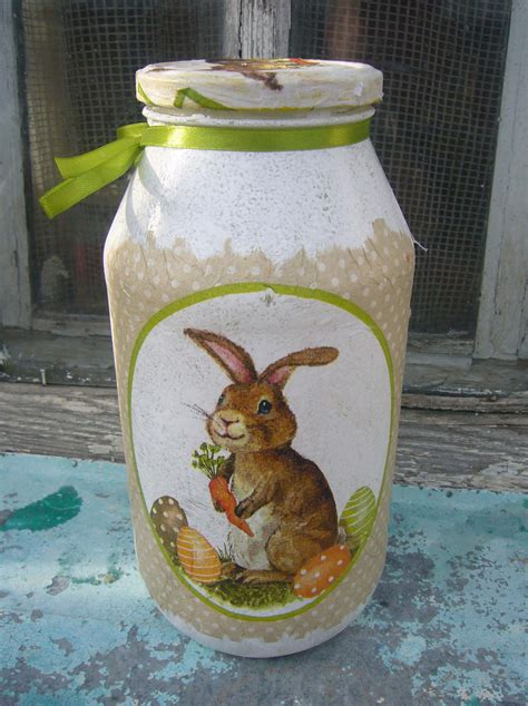 Decoupage On Glass Jars - decoupage ideas bunny jar diy crafts decoupage ideas