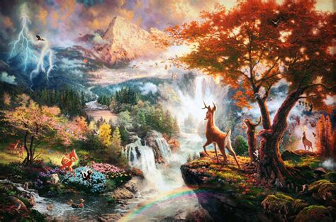 disney wallpaper thomas kinkade bambi wallpapers wallpaper cave