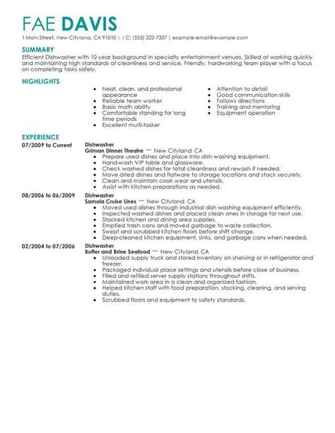 Dishwasher Resume by Best Dishwasher Resume Exle Livecareer