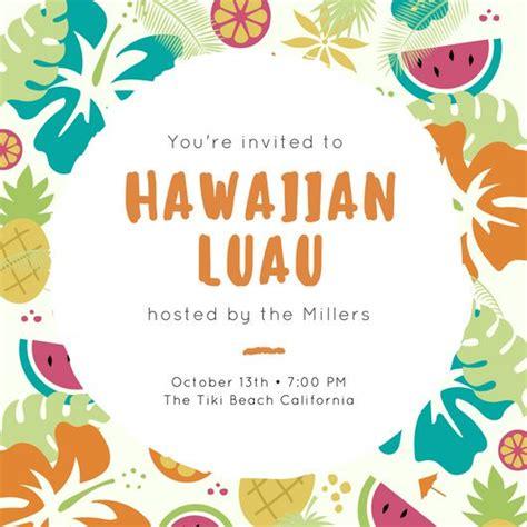 hawaiian card template customize 102 luau invitation templates canva
