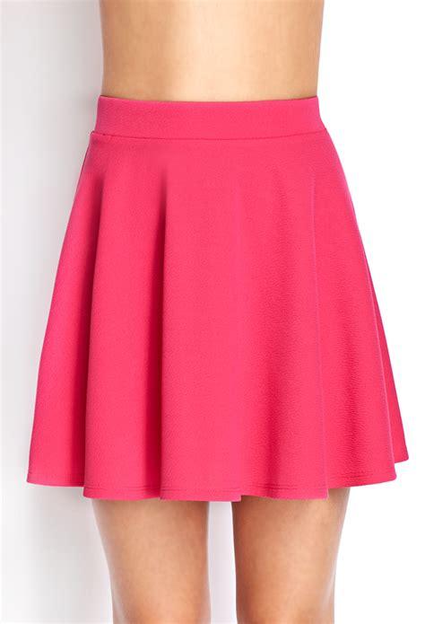 knit skater skirt forever 21 textured knit skater skirt in pink lyst