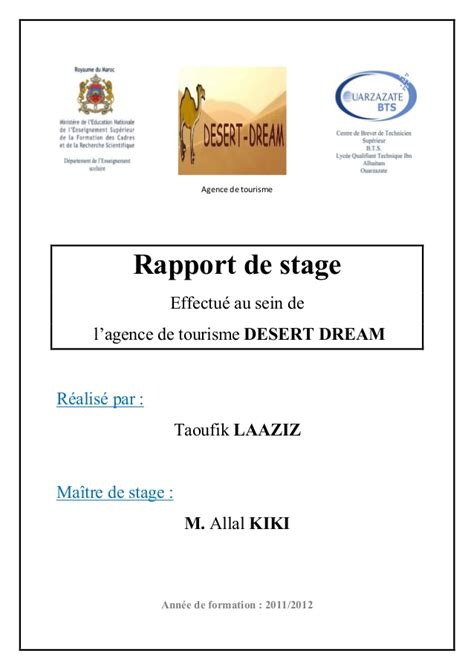 rapport de stage en cuisine rapport de stage desert