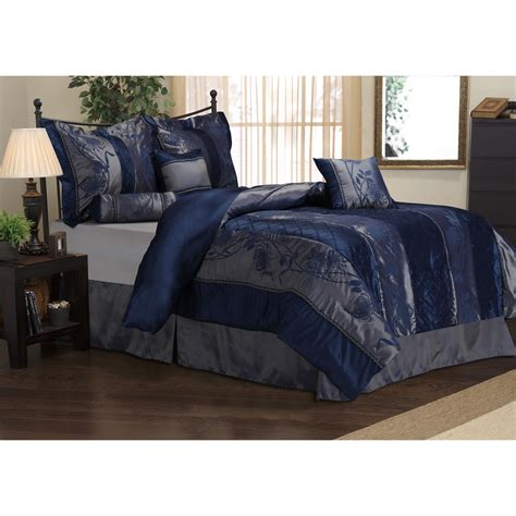 navy blue bed sheets rosemonde 7 piece navy blue comforter set overstock com
