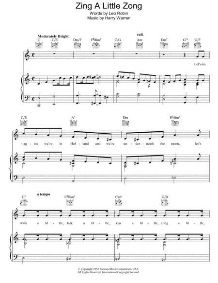 Zing A Little Zong By Leo Robin - Digital Sheet Music For