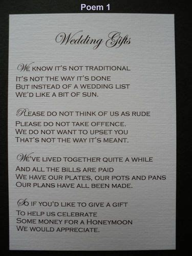poem to ask for money as wedding gift 50 handmade personalised wedding gift poem verse cards