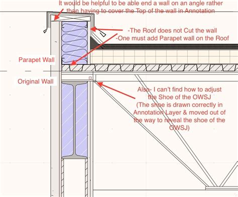 flat roof section flat roofs steel pan parapets architecture