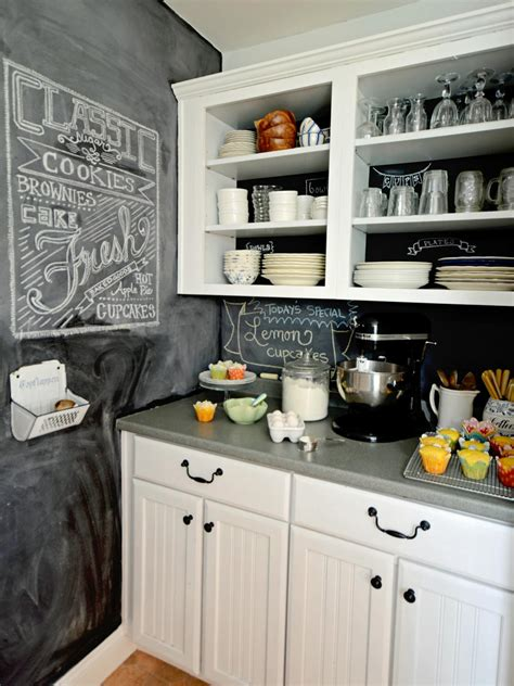 White Kitchen Cabinets With Backsplash by How To Create A Chalkboard Kitchen Backsplash Hgtv