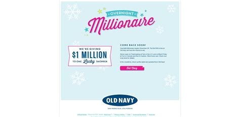 Million Dollar Giveaway Old Navy - old navy black friday 1 million dollar giveaway