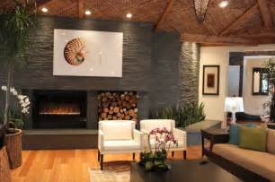Contemporary natural stone fireplace modern living room by
