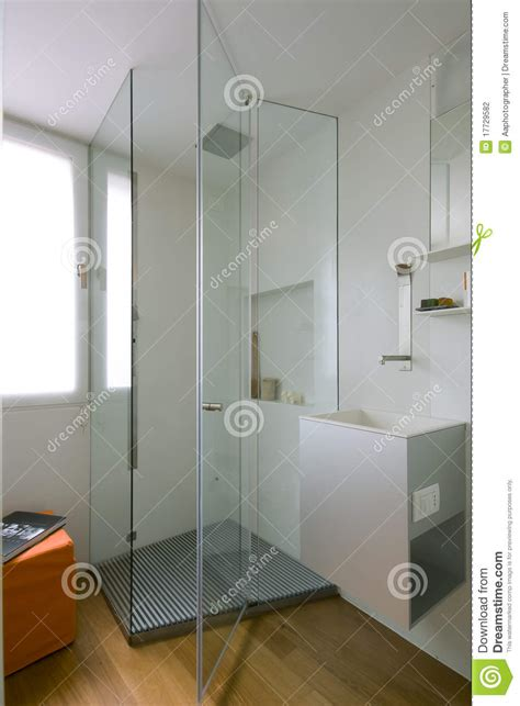 Tiny Cabin Plans shower cubicle with glass partition stock photography