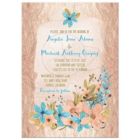 Teal Home Decor Ideas Rose Gold And Blue Watercolor Floral Wedding Invitation