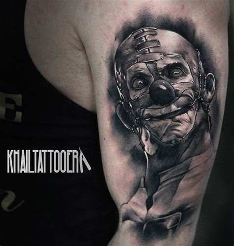 insane tattoos killer clown on guys arm best design ideas