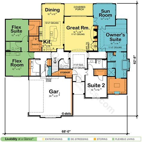 House Plans With Two Master Suites Design Basics Ranch House Plans With Two Master Suites