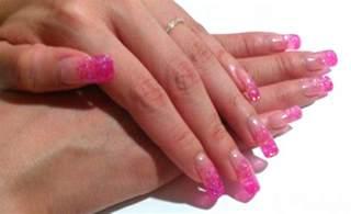 the clover beauty inn notd pink glitter gel nails