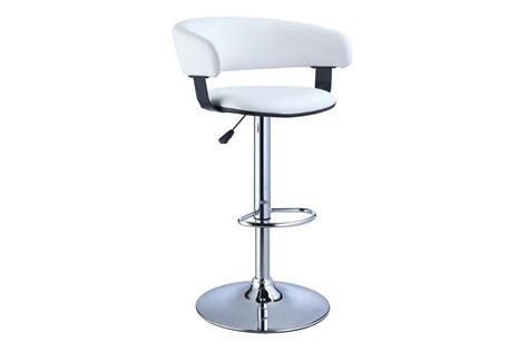 Powell Bar Stool With Adjustable Height by White Faux Leather Barrel Chrome Adjustable Height Bar