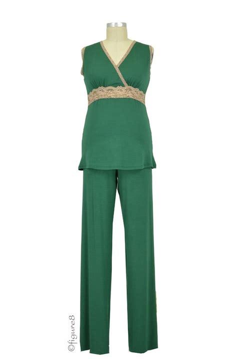 Baju Set Green baju modal lace sleeveless nursing pj set in