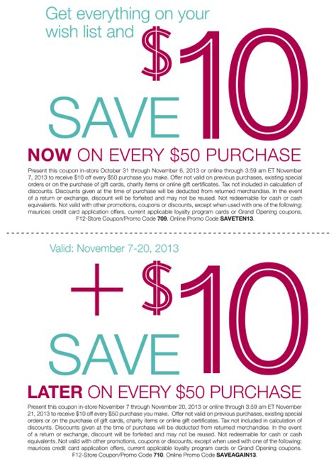 maurices outlet printable coupons 10 off 50 at maurices
