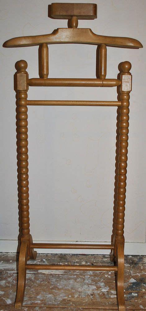solid pine wood gentleman  suit clothes valet stand rack