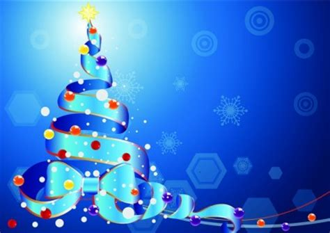 background natal biru pohon natal oleh pita pada latar belakang biru vector