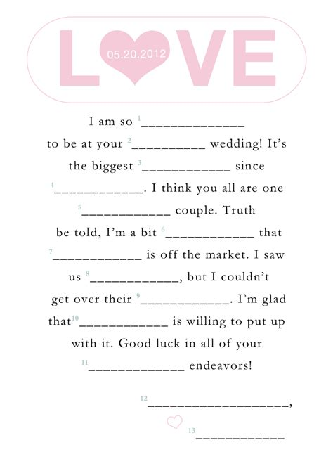 printable wedding shower mad libs 9 best images of blank printable wedding mad libs funny