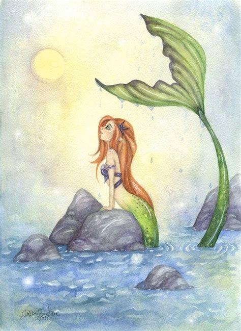 mermaid fairy mermaid art 5x7 watercolor fine art print mermaid