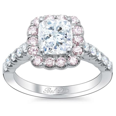 cushion engagement ring with pink halo