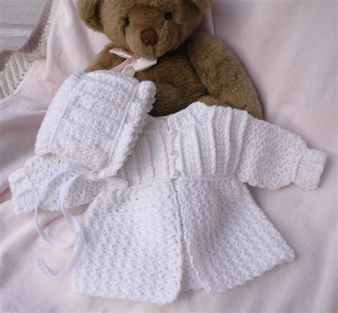 sweaters for babies crocheted baby sweater w bonnet white newborn 0 3mo